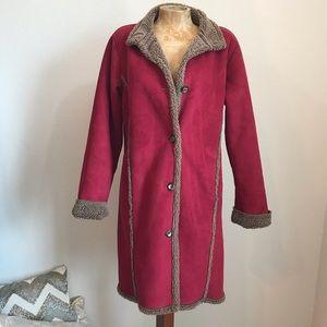 L.L. Bean Faux Suede Button Down Fleece Coat Sz M
